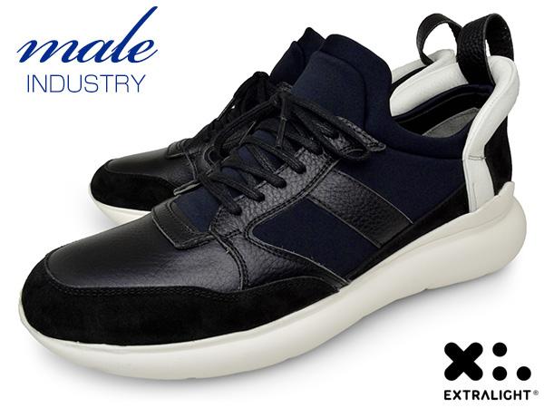 メンズ スニーカー 本革 スリッポン ブランド MALE INDUSTRY イタリア BLACK ブラック 黒 紐 EXTRALIGHT SOLE エクストラライトソール