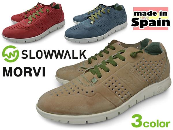 メンズ カジュアルシューズ ローカット 本革 ヌバック ブランド SLOWWALK スローウォーク SAND RED JEANS スペイン製