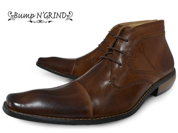 Bump N' GRIND バンプ アンド グラインド メンズ ビジネスシューズ 本革 チャッカブーツ 革靴 紳士靴 ブラウン ハイカット BG-2803 CAMEL ドレスシューズ ギフト