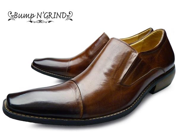【 店内全品ポイント10倍 10月11日 1時59分まで 】 Bump N' GRIND バンプ アンド グラインド メンズ ビジネスシューズ 本革 スリッポン ロングノーズ バンプタイプ 革靴 紳士靴 送料無料 BG-2790 CAMEL ドレスシューズ 就活 靴 くつ ビジネスシューズ 父の日 ギフト