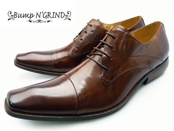 Bump N' GRIND バンプ アンド グラインド メンズ ビジネスシューズ 本革 ロングノーズ 紐 ビジネスシューズ 革靴 紳士靴 茶 キャメル BG-2799 CAMEL 送料無料 大きいサイズ ドレスシューズ ギフト