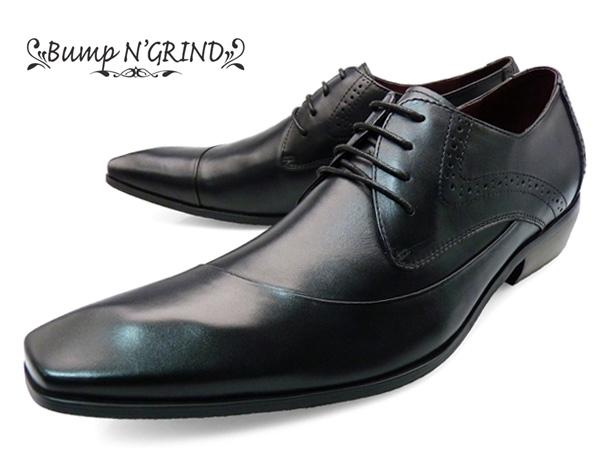 Bump N' GRIND バンプアンドグラインド ビジネスシューズ メンズ ドレスシューズ 本革 ロングノーズ 紐 ビジネスシューズ BG-6000 BLACK ブラック 黒 ギフト