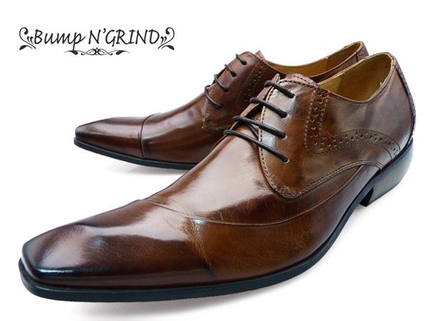 Bump N' GRIND バンプアンドグラインド メンズ ビジネスシューズ 紐 ドレスシューズ 本革 ロングノーズ 革靴 紳士靴 BG-6000 CAMEL キャメル