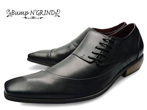 Bump N' GRIND バンプ アンド グラインド メンズ ビジネスシューズ 本革 サイドシューレース 紐 革靴 紳士靴 黒 ブラック BG-6001 BLACK ドレスシューズ 送料無料 就活 靴 くつ