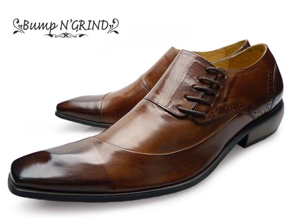 Bump N' GRIND バンプ アンド グラインドメンズ ビジネスシューズ 本革 サイドシューレース 革靴 紳士靴 茶 キャメル BG-6001 ドレスシューズ 就活 靴 くつ ギフト