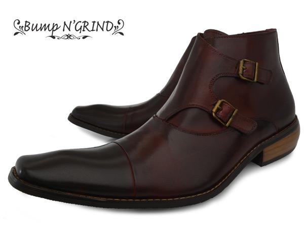 Bump N' GRIND 2804 WINE バンプ アンド グラインド メンズ ダブルモンク ブーツ サイドジップ 本革 ロングノーズ ビジネスシューズ 革靴 紳士靴 ワイン BG-2804 WINE ドレスシューズ P11Sep16