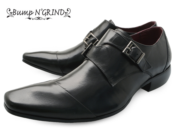【 店内全品ポイント10倍 10月11日 1時59分まで 】 Bump N' GRIND(バンプ アンド グラインド) メンズ 本革 ビジネスシューズ ダブルモンク 革靴 紳士靴 黒 BG-4001 BLACK ドレスシューズ 就活 靴 くつ 父の日 ギフト