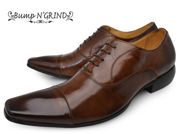 Bump N' GRIND バンプアンドグラインド メンズ ビジネスシューズ 本革 ロングノーズ スクエアトゥ ストレートチップ 内羽根 革靴 紳士靴 キャメル BG-6031 CAMEL ドレスシューズ 送料無料 就活 靴 くつ ギフト