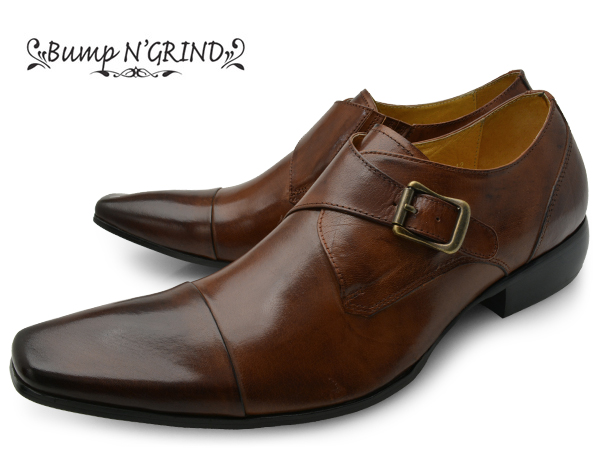 Bump N' GRIND バンプ アンド グラインド メンズ ビジネスシューズ 本革 ロングノーズ スクエアトゥ ストレートチップ モンク 革靴 紳士靴 キャメル BG-6032 CAMEL ドレスシューズ 送料無料 就活 靴 くつ