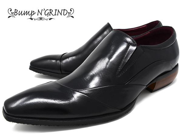 【 店内全品ポイント10倍 10月11日 1時59分まで 】 Bump N' GRIND バンプ アンド グラインド メンズ ビジネスシューズ 本革 ロングノーズ スクエアトゥ スリッポン 革靴 紳士靴 ブラック BG-6051 BLACK ドレスシューズ 送料無料 就活 靴 くつ 父の日 ギフト