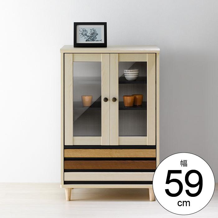 キャビネット 幅60cm 扉収納 引出し収納 サイドボード 食器棚 ガラス扉 木製 リビング キッチン 収納 脚付き 一人暮らし 新生活 北欧 レトロ カントリー おしゃれ かわいい
