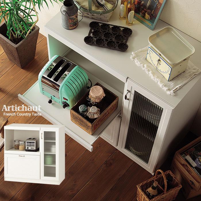 レンジ台 90cm ロータイプ レンジボード レンジラック 食器棚 キッチンボード カップボード キッチンカウンター キッチン収納 キッチン 収納 ラック 棚 作業台 ガラス レトロ モダン 木製 北欧 アンティーク 白 白色 ホワイト
