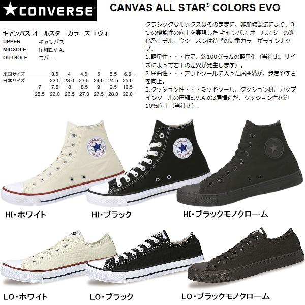 Lightweight New Saul with new canvas all-star colors Evo high cut low cut CONVERSE CANVAS ALL STAR COLORS EVO HI & OX canvas all star converse lightweight EVA Rakuten 1