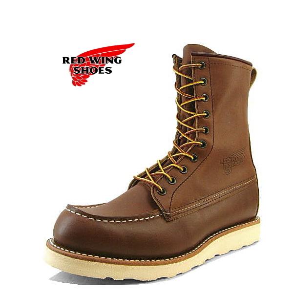 【豪華シューケアセット3点付】 正規品 RED WING 877 レッドウィング 8inch クラシックモカシン ブーツ ブラウン ハーフ ブーツ メンズ おしゃれ かっこいい カジュアル 靴 靴ケア用品 set 25.0cm 25.5cm 26.0cm 26.5cm 27.0cm 27.5cm 28.0cm