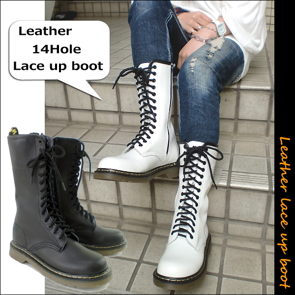 ☆ 14 hall long race up boots 6119 Lady's boots ● race up boots lace-up boots in being genuine leather lace-up boots race up shoes long lady's white black and white genuine leather at this price