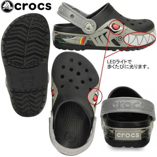 Clocks kids shining sandals clocks rights Robo shark clog crocs crocslights robo shark clog PS 15362 kids shoes sandals casual sandals ●