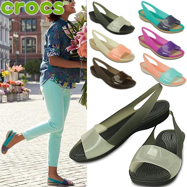 Clock scalar block flat women crocs Colorblock Flat W 200032 Lady's sandals ●