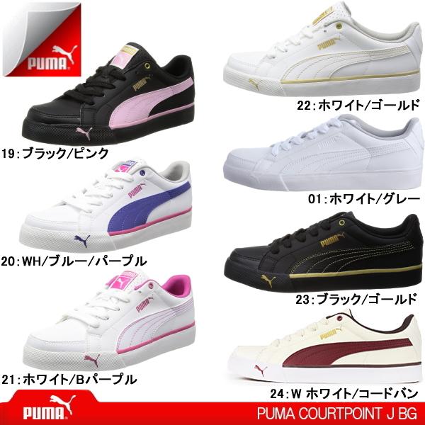 PUMA sneakers ladies PUMA COURTPOINT J BG 352529 PUMA coat points cut school shoes / athletic shoes / white / black / Pink ladies sneaker-