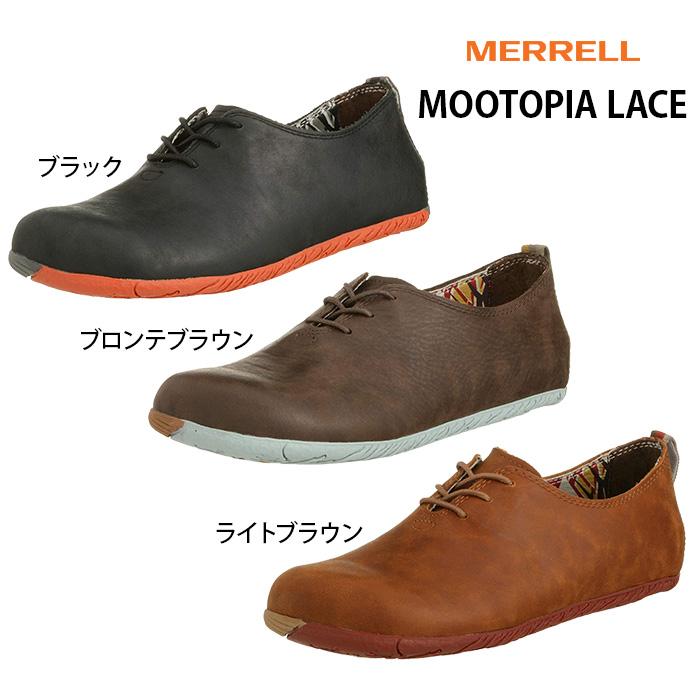 あす楽 送料無料 メレル ムートピアレース レディース MERRELL MOOTOPIA LACE ウォーキング W20552/W20558/W20556 女性用 レディース靴 ぺたんこ ペタンコ 歩きやすい 革 紐靴 ウォーキングシューズ 黒 22.5cm 23.0cm 23.5cm 24.0cm 24.5cm 25.0cm