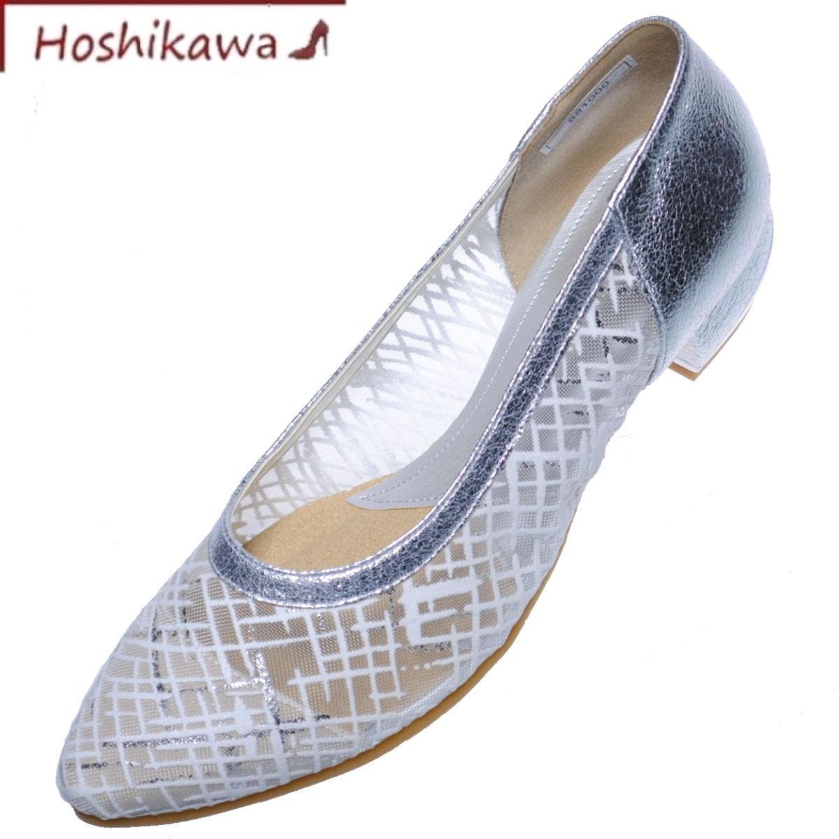【靴のHOSHIKAWA】 『MONET 881000』 モネ ホワイト21.5cm~24.5cm EEE 春夏パンプス レディース ローヒール 牛革 チュールレース