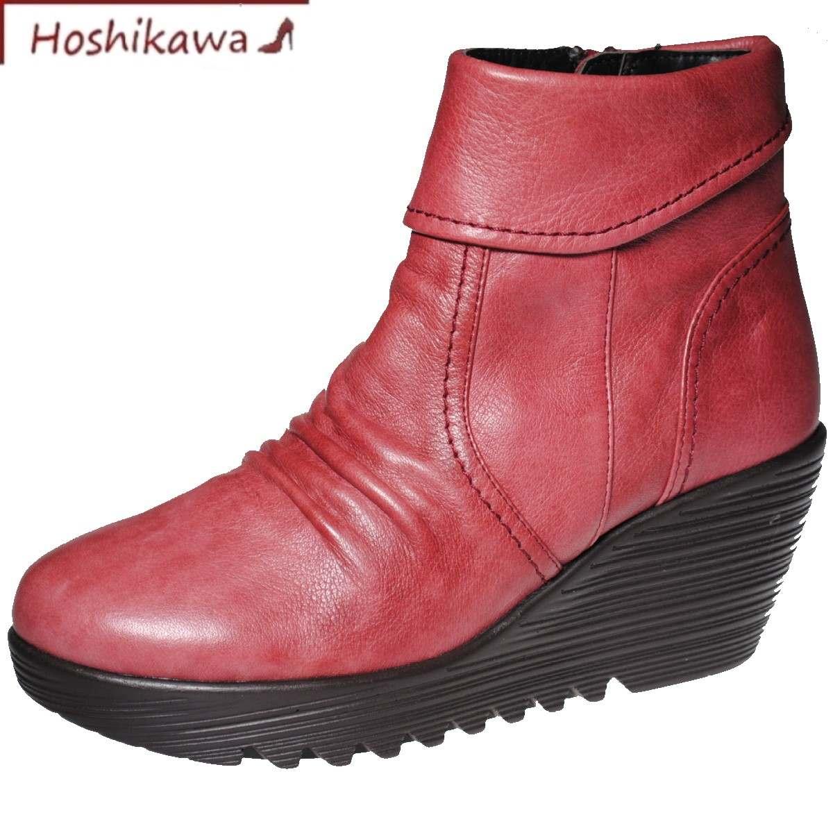 【靴のHOSHIKAWA】 『fino 9610』フィーノ ワイン22.5cm~24.5cm EEEショートブーツ レディースミドルブーツ 牛革 秋冬
