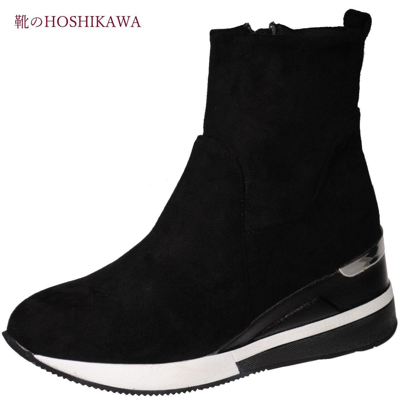 ブーツ ショート丈 ファスナー スエード 合成皮革 軽い 靴のHOSHIKAWA maaRu 600 限定品 スウェード L LL 秋冬 ショートブーツS M 通販 レディース ブラック内側ファスナー 厚底合皮