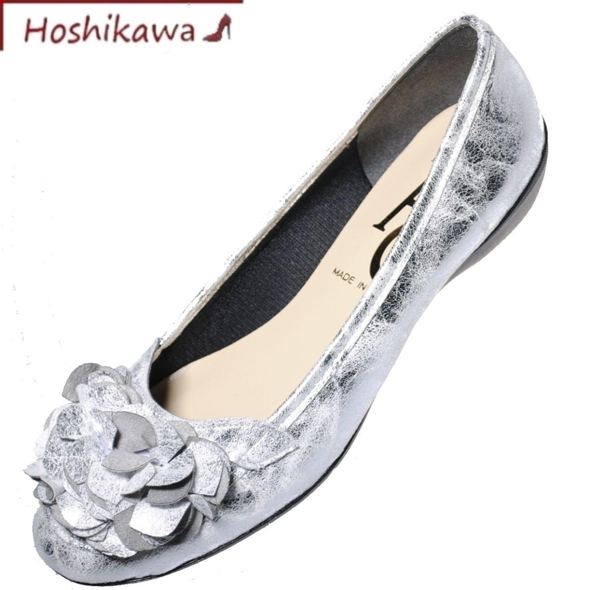エーシー 日本製 フラット パンプス 幅広 期間限定送料無料 靴のHOSHIKAWA AC 贈り物 合皮 シルバーカッター EEEレディース カジュアルパンプス22.5cm~24.5cm ローヒール低反発 1713