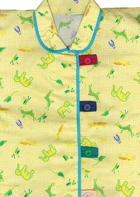 サンプル品の為 オンラインショップ 再再販 特別価格 前開き ル-ムウェア キッズパジャマ 15mmサイズボタン4色子供用パジャマ 配色釦が可愛い かわいいプリント柄