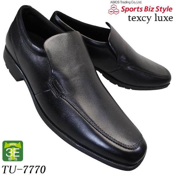 アシックス商事 asics ビジネスシューズ メンズ trading 超安い テクシーリュクス 7770 texcy luxe TU-7770 3E相当 一部地域を除く 注文後の変更キャンセル返品 送料無料 テクシーTU7770 軽量 本革 ビジネス靴 スリッポン ブラック