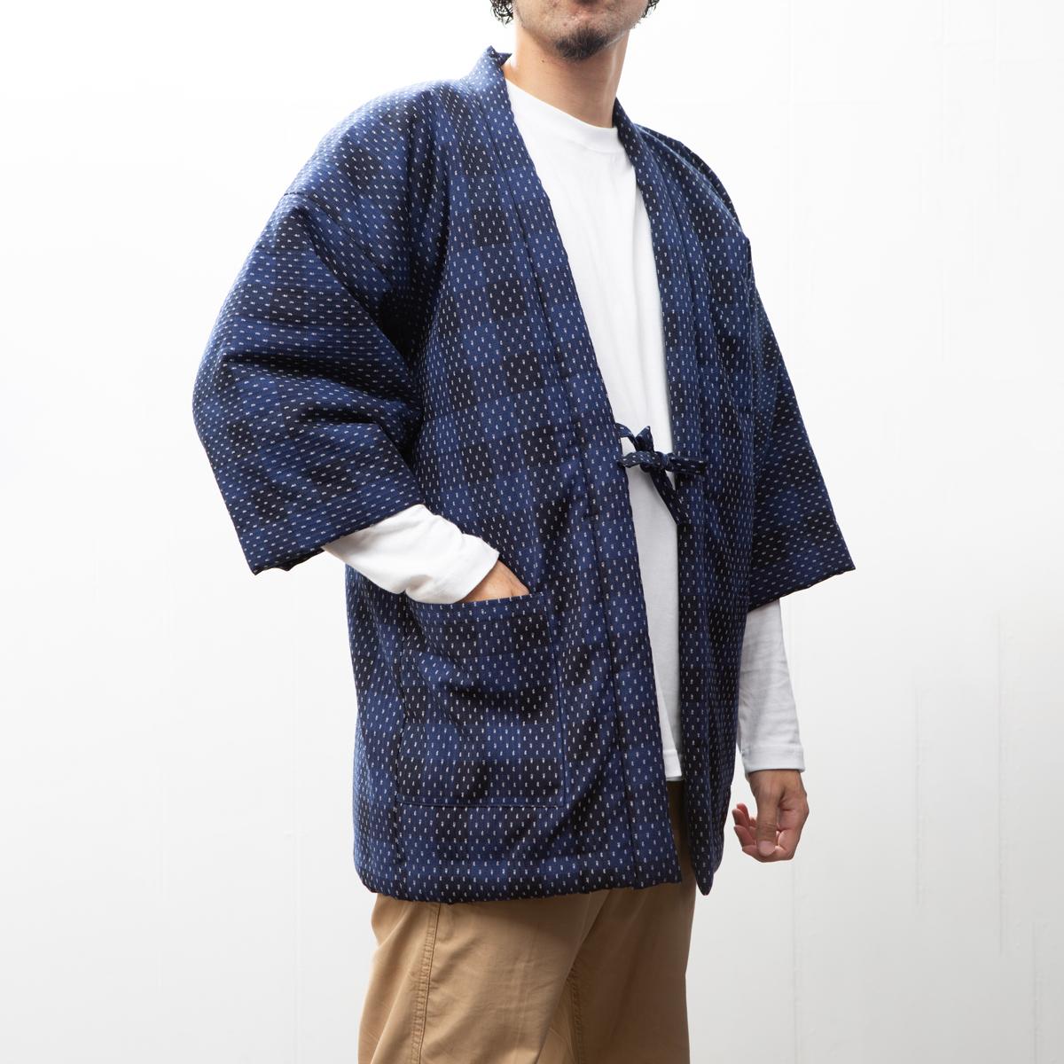 手詰め中綿はんてん ドビー織あられ格子柄 男性用 市販 日本製久留米産 丹前 袢纏 お得セット 半天 どてらちゃんちゃんこ