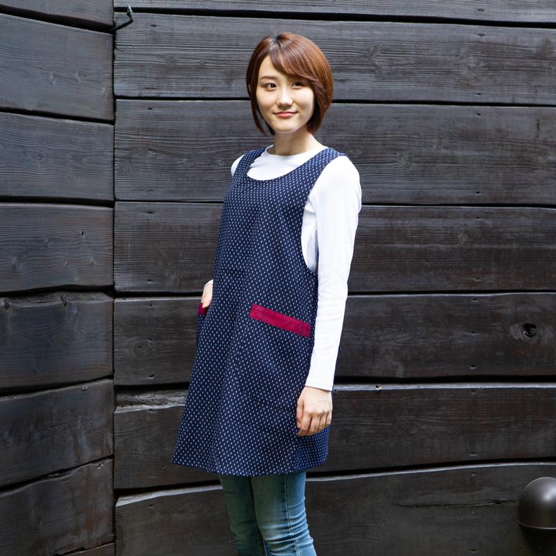 着脱しやすいワンボタンのエプロンです 女性用後ボタンエプロン ドビー織 久留米織 日本製 選択 新品■送料無料■