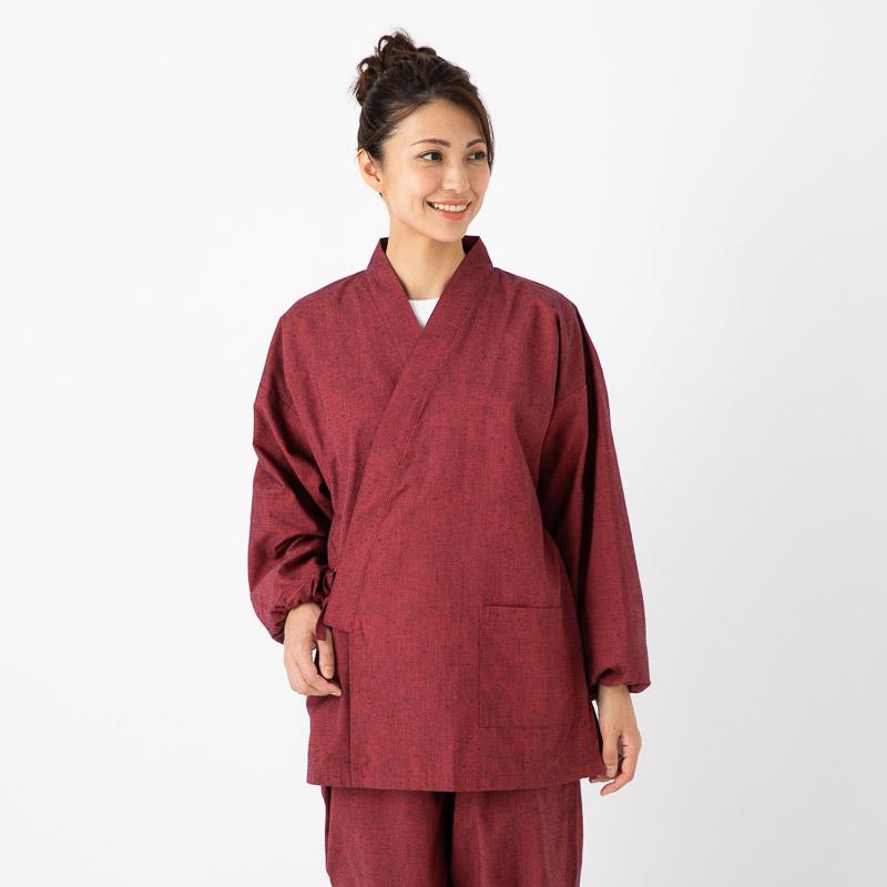 日本製 国内正規総代理店アイテム 女性用作務衣 ショップ 久留米紬織 部屋着 婦人用 母の日 制服 作業着 レディース 和装
