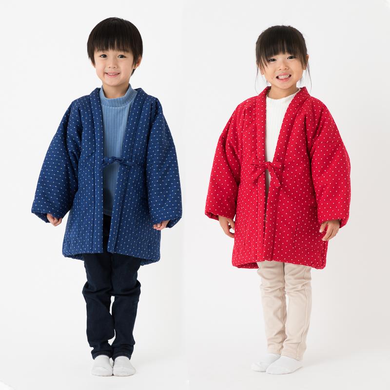 日本製 久留米織 子供用 綿入れはんてん 贈り物 120~140サイズ 海外限定 女の子 男の子 豆四角柄 ドビー織