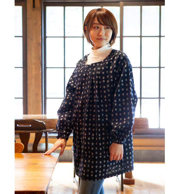 女性用前ファスナーチュニック ドビー織 配送員設置送料無料 日本製久留米産ブラウス エプロン 割烹着 40%OFFの激安セール