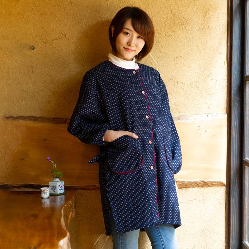 女性用前ボタンスモック ドビー織 メーカー公式ショップ 日本製久留米産エプロン 絶品 割烹着