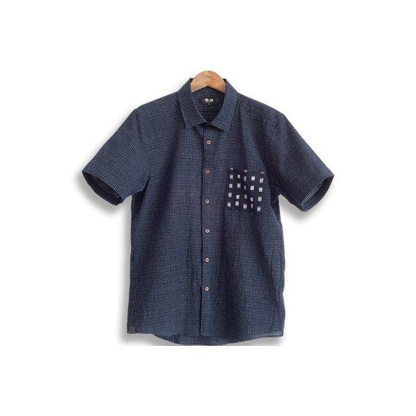 希少 半袖ドビー織ポケットシャツ ちぢみ織 日本製久留米産 人気ブレゼント! 父の日ギフト プレゼント