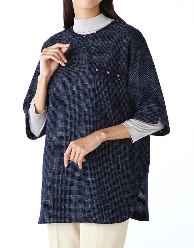 Tokamachi ■ tissue T blouse ■ Kasuri patchwork with ★ 60th birthday celebration, congratulation, family, mother's day, gifts! made in Japan