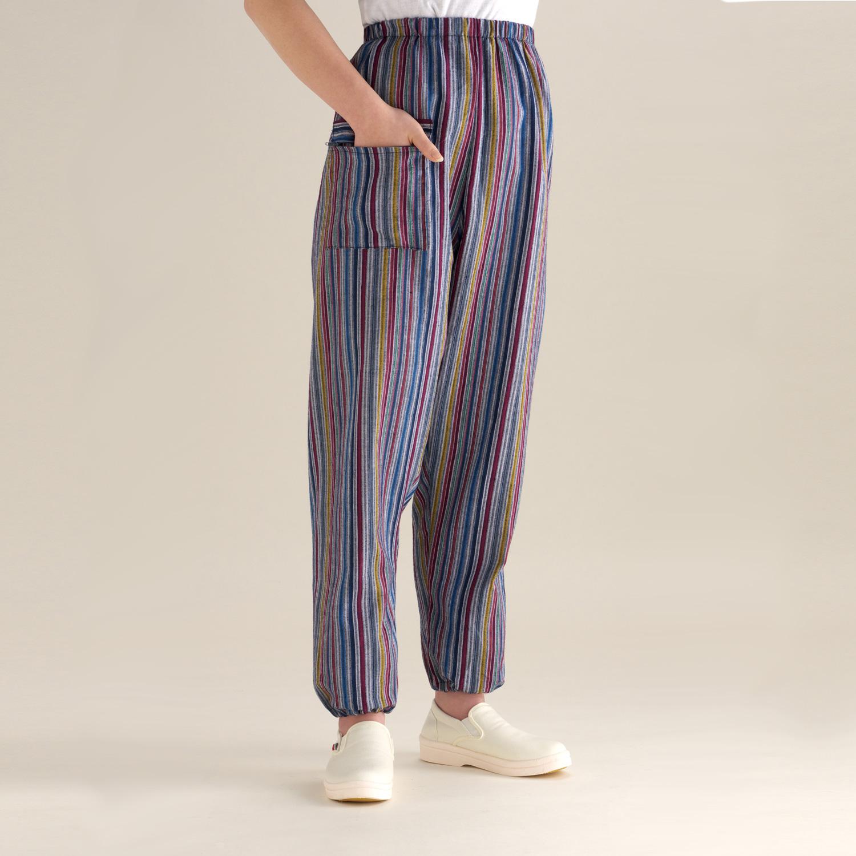 色柄おまかせ3本セット 女性用リラックスフィットもんぺ モデル着用 注目アイテム ランキング総合1位 ちぢみ織かつお縞 日本製久留米産