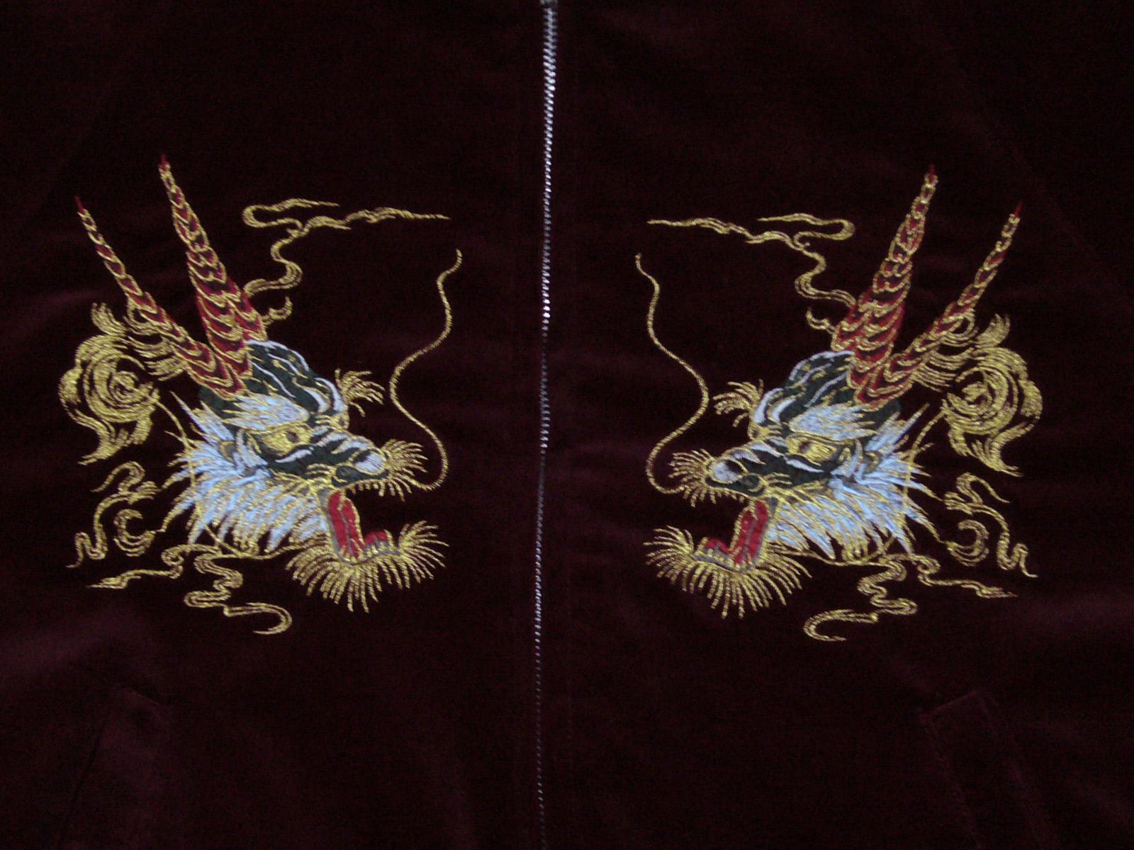 楽天市場 別珍 スカジャン 龍刺繍 Fサイズ ワイン袖金龍刺繍 日本製