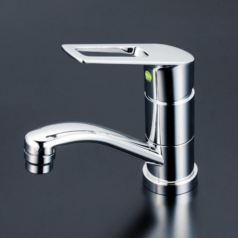【KM7011TEC】洗面用シングルレバー式混合栓 吐水口回転規制80°eレバー