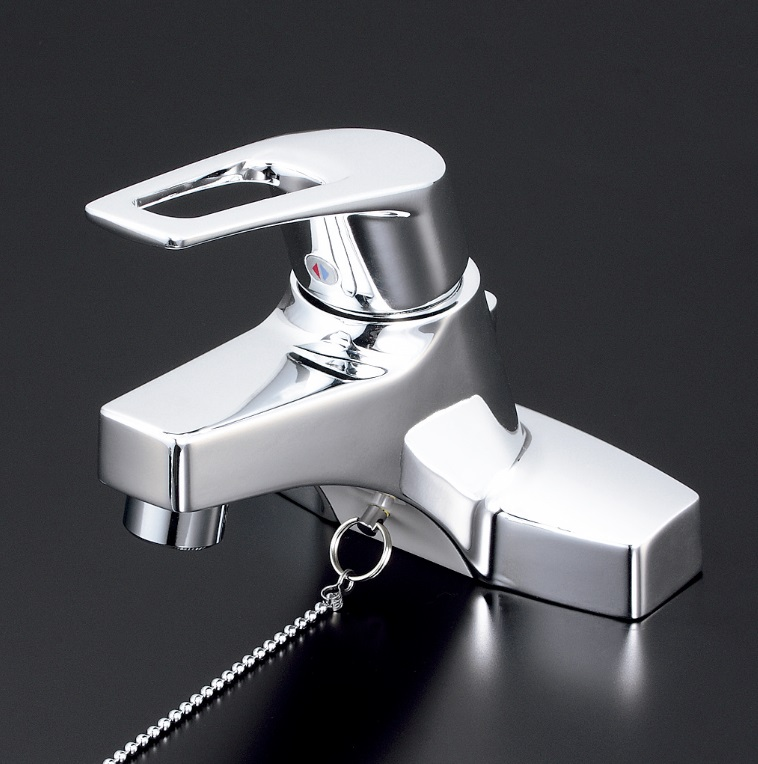 【KM7014ZTA】洗面用シングルレバー混合栓ゴム栓付(湯側角度規制)