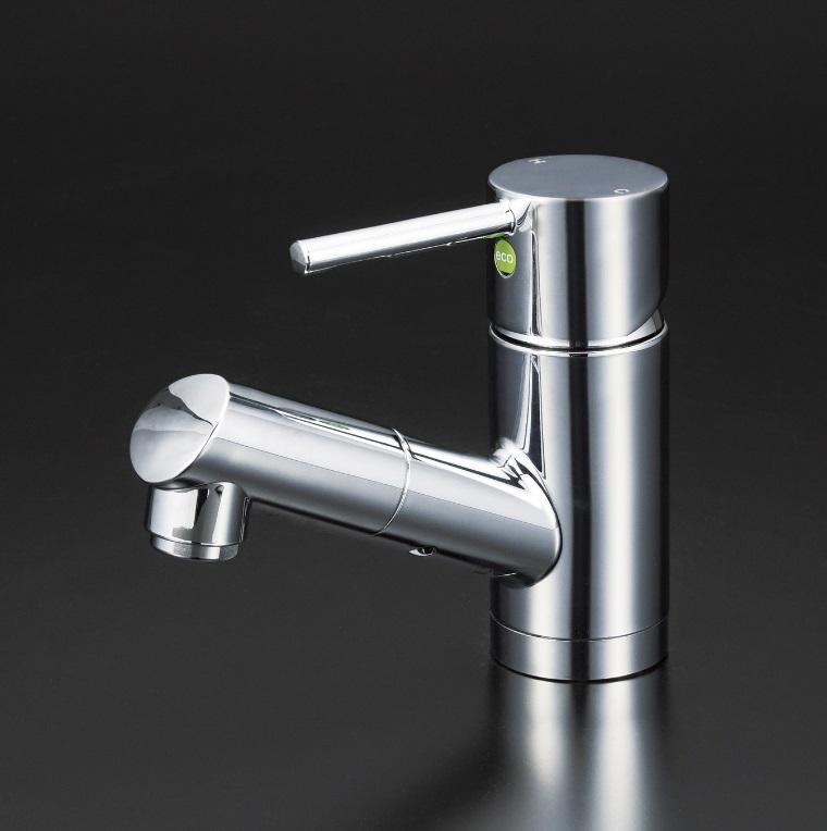 【KM8021ZTEC】洗面用シングルレバー式シャワー付混合栓(eレバー)