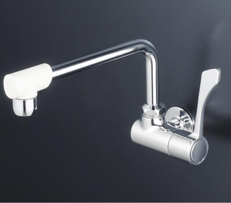 【K1801FR2】横形自在水栓 ワンタッチハンドル 240ミリパイプ泡沫付