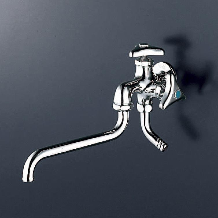 【K21J】横水栓 13(2口・自在・ホース接続・逆止)