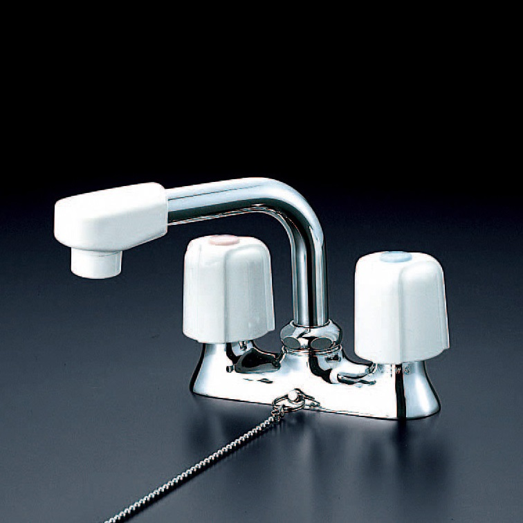 【KM17NSZGS】洗面用2ハンドル混合栓ゴム栓付ビス止