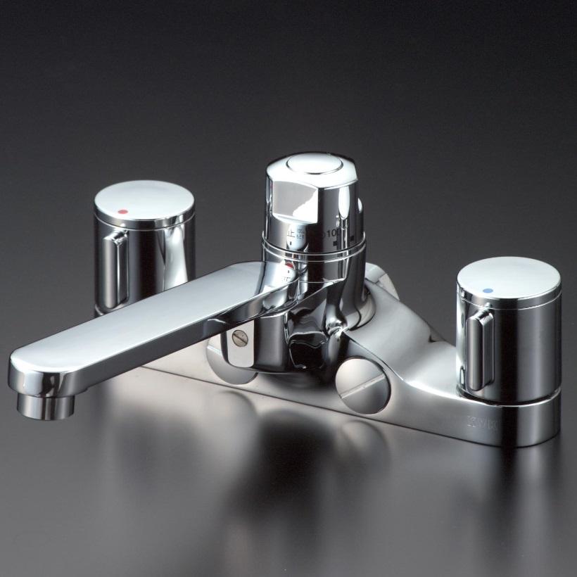 【KM296ZGT】定量止水付2ハンドル混合栓 ビス止 168mmパイプ付
