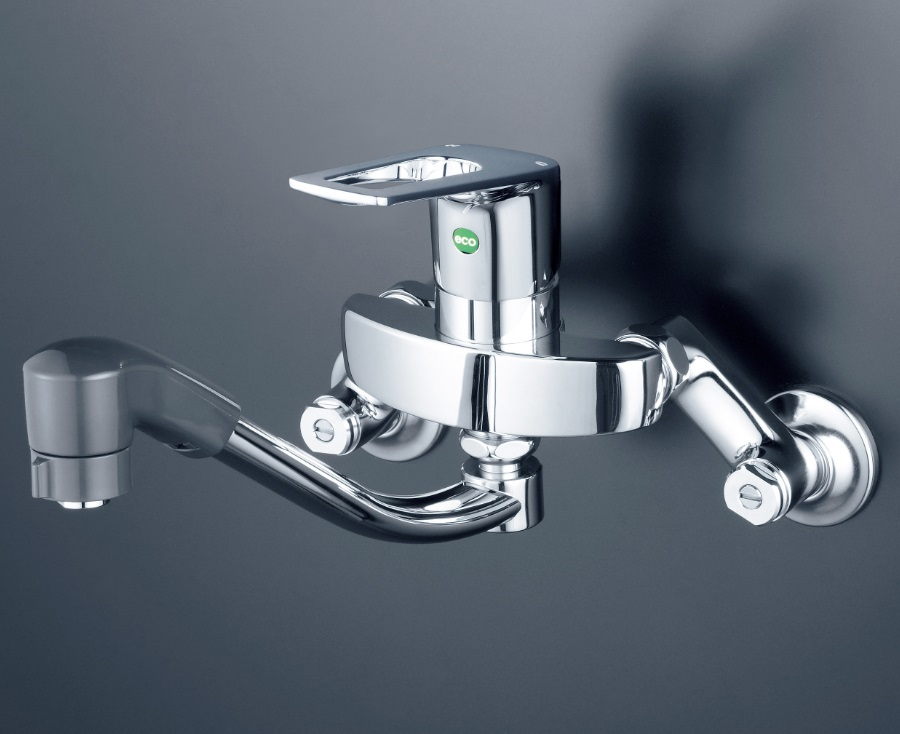 【KM5000ZTHEC】シングルレバー式混合栓 上向きパイプ付(eレバー)