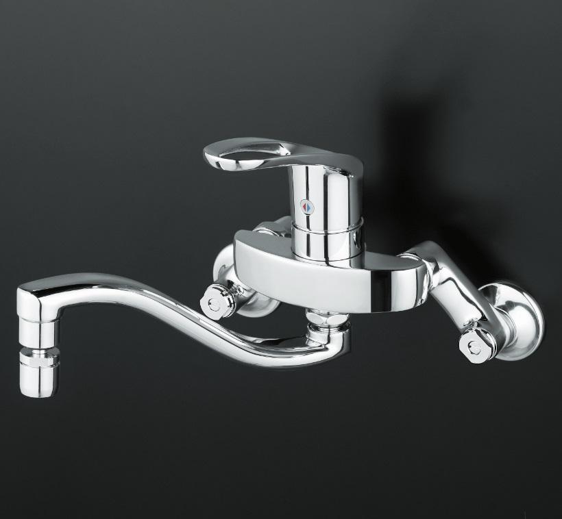 【KM5000ZTHS】シングルレバー式混合栓 上向きパイプ付(首振泡沫器付)