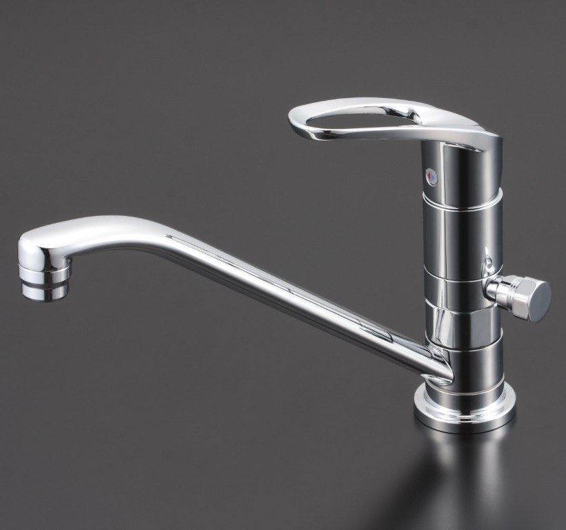 【KM5011ZUTTN】流し台用取付穴兼用シングルレバー式混合栓 分岐孔付(給水・給湯)