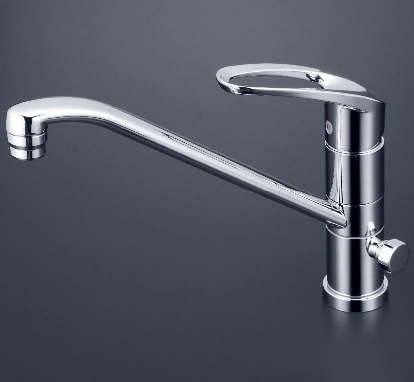 【KM5041ZCT】流し台用シングルレバー混合栓 回転分岐孔付(給水)